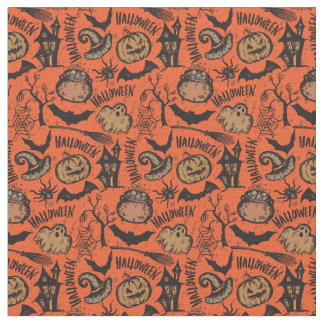 Hapy Halloween Witches Bats Fabric