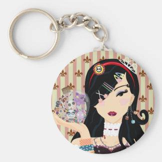 Harajuku Girl Mayumi Basic Round Button Key Ring