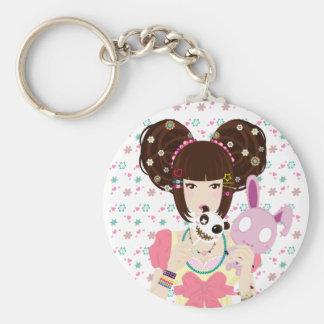 Harajuku Girl Yuriko - background Keychain