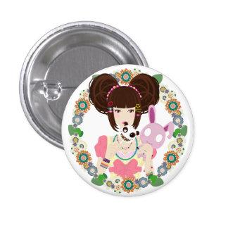 Harajuku Girl Yuriko - bordered 3 Cm Round Badge