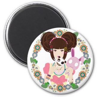 Harajuku Girl Yuriko - bordered Refrigerator Magnet