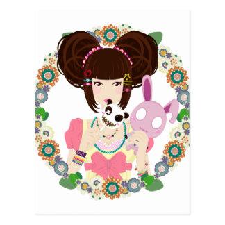Harajuku Girl Yuriko - bordered Post Cards