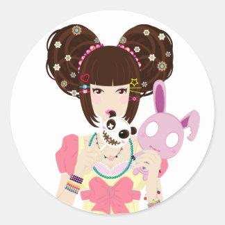 Harajuku Girl Yuriko Round Sticker