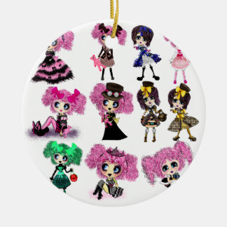 Harajuku Girls - Lolita fashionistas Ceramic Ornament