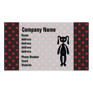 Harajuku Polka Dot Bunny in Red and Black Business Card Templates