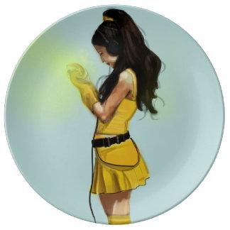 Harajuku Yellow Dress Girl Porcelain Plates