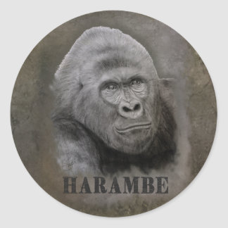 Harambe (Graphite Drawing) Classic Round Sticker