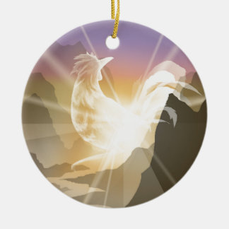 Harbinger of Light - Sunrise Rooster Ceramic Ornament