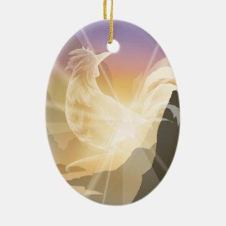 Harbinger of Light - Sunrise Rooster Ceramic Ornament