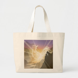 Harbinger of Light - Sunrise Rooster Large Tote Bag