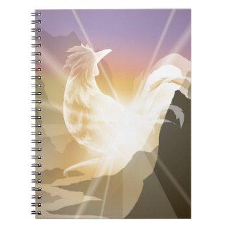 Harbinger of Light - Sunrise Rooster Notebook