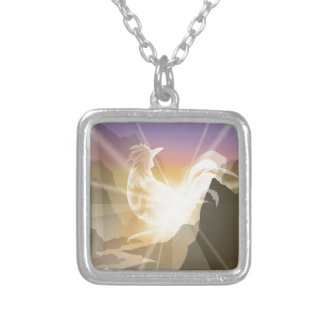 Harbinger of Light - Sunrise Rooster Silver Plated Necklace