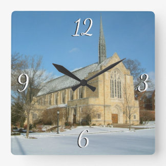 Harbison Chapel in Winter at Grove City College Wall Clocks