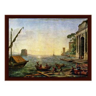 Harbor At Sunrise By Lorrain, Claude Post Card