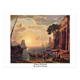 Harbor At Sunset By Lorrain Claude Postcard