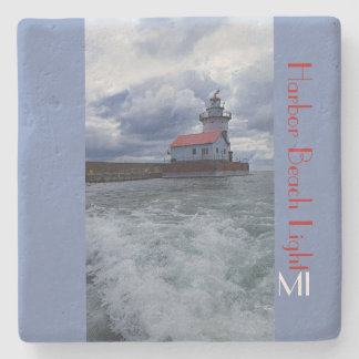 Harbor Beach Lighthouse MI Stone Coaster