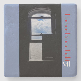 Harbor Beach Lighthouse window MI Stone Coaster