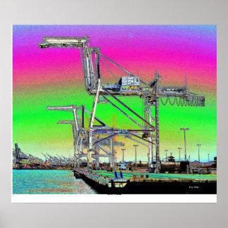 Harbor Cranes Poster