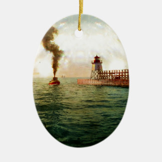 Harbor entrance, Charlevoix, Michigan circa 1900 Ceramic Ornament
