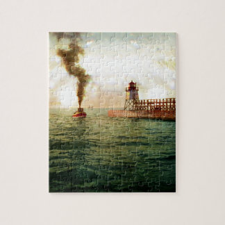 Harbor entrance, Charlevoix, Michigan circa 1900 Jigsaw Puzzle