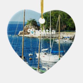 Harbor in Croatia Ceramic Heart Decoration