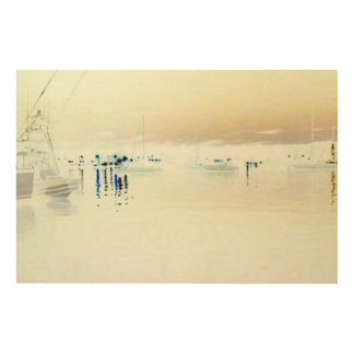 Harbor Lights I Wood Print by Artist C.L. Brown