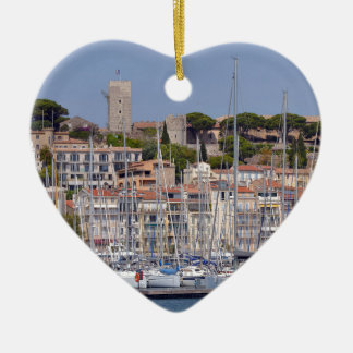 Harbor of Cannes in France Ceramic Ornament