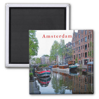 Harbor on the canal in Amsterdam. Magnet