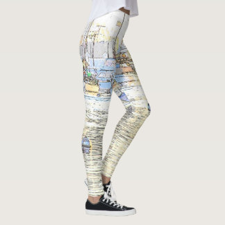 Harbor Sailboats Boats Sea All Over Print Leggings
