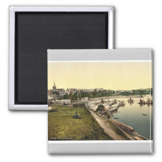 Harbor, Tenby, Wales rare Photochrom Square Magnet