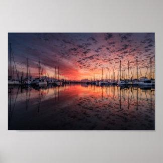 Harbor Yacht Sunset Poster