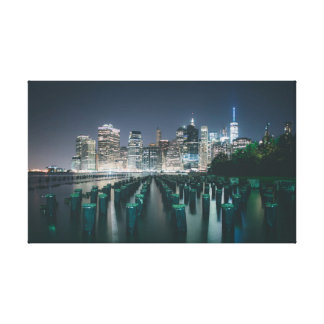 Harbour at night canvas print
