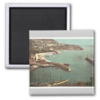 Harbour, Nice, France vintage Photochrom Square Magnet