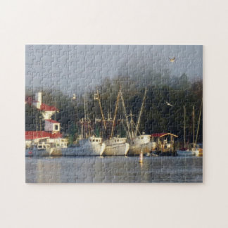 Harbour Shrimp Boats at Morning Jigsaw Puzzle