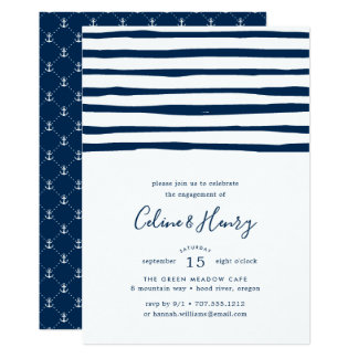 Harbour Stripe Engagement Party Invitation