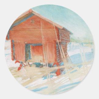 Harbre i Vintersol Classic Round Sticker