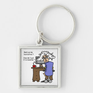 Hard Drive Back Up Humorous Silver-Colored Square Key Ring
