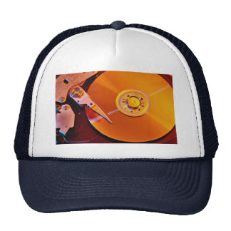 Hard drive with golden platter hat
