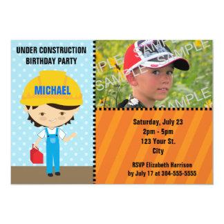 Hard Hat Construction Birthday Custom Announcements