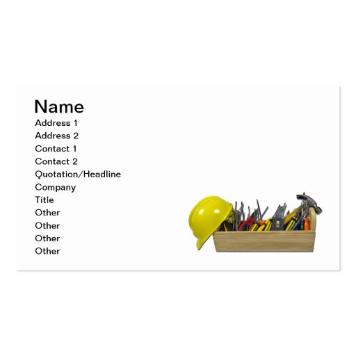 Hard hat long wooden toolbox business card