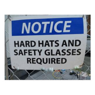 Hard Hat Sign Postcard
