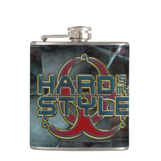 HARD is my STYLE + your background image Hip Flask