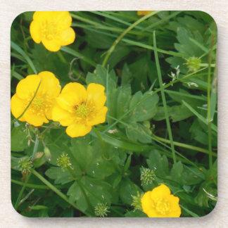 HARD PLASTIC COASTER CORK BACK - YELLOW FLOWERS