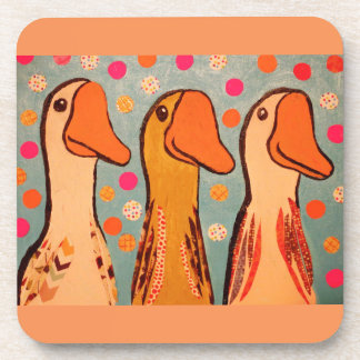 Hard Plastic Coasters/Cork Back with Duck Design