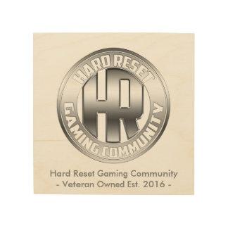 Hard Reset Logo Wood Backed Logo Hanging Wood Wall Decor