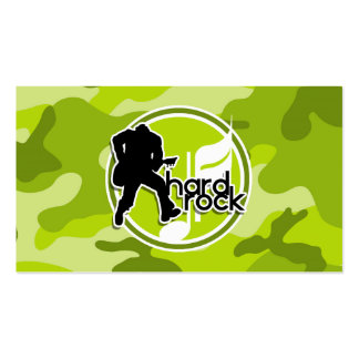 Hard Rock; bright green camo, camouflage Pack Of Standard Business Cards