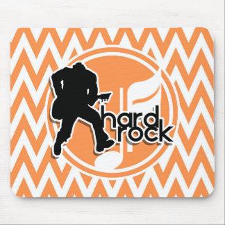 Hard Rock Orange and White Chevron Mousepads