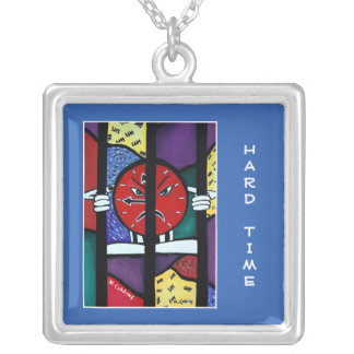 Hard Time On Blue  - Time Pieces Silver Plated Necklace