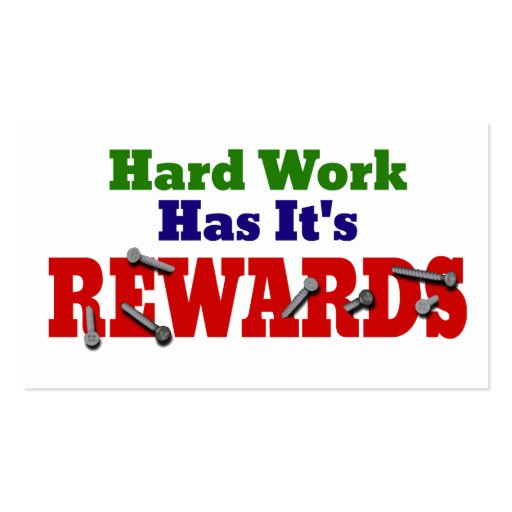 Hard Work Appreciation Business Card Template