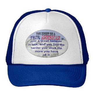 hard work luck mesh hats
